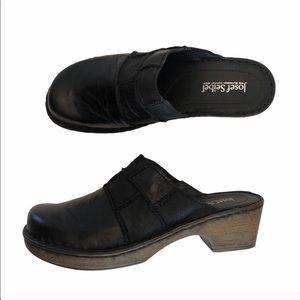 NWOT Josef Seibel leather black clog shoes size 40
